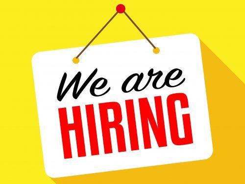 We are hiring / hanging door sign